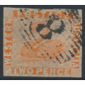 AUSTRALIA / WA - 1860 2d orange-vermilion Swan, imperforate with swan watermark, used – SG # 25