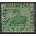 AUSTRALIA / WA - 1861 1/- yellow-green Swan, perf. 15:15, swan watermark, used – SG # 43