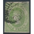 AUSTRALIA / VIC - 1857 1d yellow-green Emblems, imperf., large star watermark, used – SG # 41