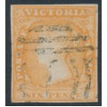 AUSTRALIA / VIC - 1854 6d dull orange Queen Victoria, imperforate, no watermark, used – SG # 32a