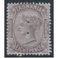 "AUSTRALIA / TAS - 1878 8d dull purple-brown QV, perf. 14:14, 'TAS' watermark, perf. ""T"", MH – SG # 158"