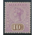 AUSTRALIA / TAS - 1892 10/- mauve/brown Queen Victoria tablet, mint hinged – SG # 224