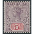 AUSTRALIA / TAS - 1892 5/- lilac/red Queen Victoria tablet, MH – SG # 223