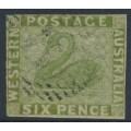 AUSTRALIA / WA - 1861 6d sage-green Swan, imperforate with swan watermark, used – SG # 28