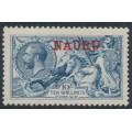 NAURU - 1916 10/- pale blue Great Britain Sea Horses with NAURU overprint, MH – SG # 23