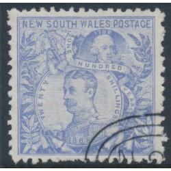 AUSTRALIA / NSW - 1890 20/- ultramarine Governors, perf. 11:12, CTO – SG # 264cb