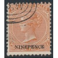 AUSTRALIA / NSW - 1897 9d on 10d red-brown QV, crown NSW watermark, perf. 12:12, CTO – SG # 236db