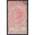 AUSTRALIA / SA - 1886 5/- rose-pink Long Tom, POSTAGE & REVENUE, perf. 11½, CTO – SG # 196a