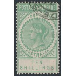 AUSTRALIA / SA - 1886 10/- green Long Tom, POSTAGE & REVENUE, perf. 11½, CTO – SG # 197a