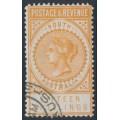 AUSTRALIA / SA - 1886 15/- brownish yellow Long Tom, POSTAGE & REVENUE, perf. 11½, CTO – SG # 198a