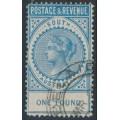 AUSTRALIA / SA - 1886 £1 blue Long Tom, POSTAGE & REVENUE, perf. 11½, CTO – SG # 199a