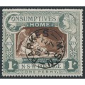 AUSTRALIA / NSW - 1897 1d (1/-) green/brown Consumptives' Home, used – SG # 280