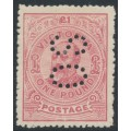 AUSTRALIA / VIC - 1910 £1 dull rose KEVII, perf. 12½, crown A watermark, perf. OS, MH – SG # 431a