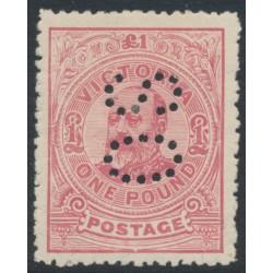 AUSTRALIA / VIC - 1910 £1 dull rose KEVII, perf. 12½, crown A watermark, perf. OS, MH – SG # 431a
