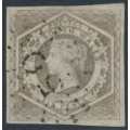 AUSTRALIA / NSW - 1859 6d greyish brown Diadem, imperforate, '8' watermark, used – SG # 96a