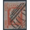 AUSTRALIA / NSW - 1852 1d brick-red Laureates, imperf. on bluish paper, used – SG # 48