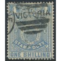 AUSTRALIA / VIC - 1885 1/- chalky blue on lemon Stamp Duty, perf. 12½:12½, used – SG # 257