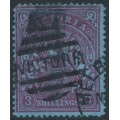 AUSTRALIA / VIC - 1884 3/- maroon on blue Stamp Duty, perf. 12½:12½, used – SG # 259
