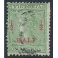 AUSTRALIA / VIC - 1873 ½d on 1d grass green Queen Victoria, perf. 13, used – SG # 174a