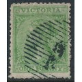 AUSTRALIA / VIC - 1867 1d deep yellow-green Laureates, double-lined '1' watermark, used – SG # 153a