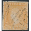 AUSTRALIA / VIC - 1854 6d orange-yellow Queen Victoria, imperforate, no watermark, used – SG # 32b