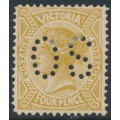 AUSTRALIA / VIC - 1906 4d yellow-bistre QV, crown A watermark, perf. 12½, perf. OS, MH – SG # 421