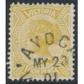 AUSTRALIA / VIC - 1901 4d bistre-brown Queen Victoria without POSTAGE, used – SG # 379