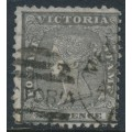AUSTRALIA / VIC - 1861 6d black Queen Victoria Diadem, SIX PENCE watermark, used – SG # 102