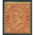 AUSTRALIA / WA - 1902 2/- bright red/yellow QV, perf. 12½, upright V crown watermark, MH – SG # 124