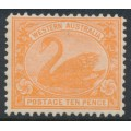 AUSTRALIA / WA - 1910 10d rose-orange Swan, perf. 12½, crown A watermark, MH – SG # 146
