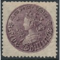 AUSTRALIA / NSW - 1897 5/- reddish purple Coin, perf. 11:11, '5/-' watermark, MH – SG # 297c
