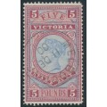 AUSTRALIA / VIC - 1888 £5 pale blue/maroon Stamp Duty, CTO – SG # 324