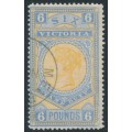 AUSTRALIA / VIC - 1887 £6 yellow/pale blue Stamp Duty, CTO – SG # 325