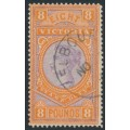 AUSTRALIA / VIC - 1890 £8 mauve/brown-orange Stamp Duty, CTO – SG # 327