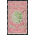 AUSTRALIA / VIC - 1888 £9 apple-green/rosine Stamp Duty, CTO – SG # 328
