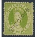 AUSTRALIA / QLD - 1871 6d green QV Chalon, star watermark, perf. 13, o/p SPECIMEN, MNG – SG # 68s