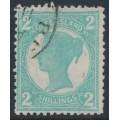 AUSTRALIA / QLD - 1897 2/- turquoise-blue QV side-face, CTO – SG # 254