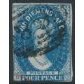 AUSTRALIA / TAS - 1855 4d deep blue Chalon, imperf., large star watermark, used – SG # 17