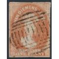 AUSTRALIA / TAS - 1863 1d brick red Chalon, imperf., '1' watermark, used – SG # 27
