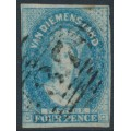 AUSTRALIA / TAS - 1857 4d pale blue Chalon, imperf., '4' watermark, used – SG # 36