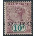 AUSTRALIA / TAS - 1899 10d purple-lake/deep green QV tablet, o/p SPECIMEN, MH – SG # 220s