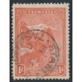 AUSTRALIA / TAS - 1902 1d pale red Mt. Wellington Pictorial, perf. 12½, 'Volcano' flaw, used – ACSC # T10Ada