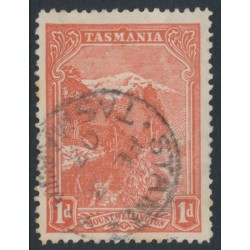 AUSTRALIA / TAS - 1902 1d pale red Mt. Wellington Pictorial, perf. 12½, 'Volcano' flaw, used – ACSC # T10Ada