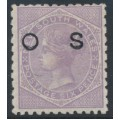 AUSTRALIA / NSW - 1885 6d mauve QV, perf. 11:10, crown NSW watermark, o/p OS, MH – SG # O31d