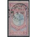 AUSTRALIA / VIC - 1888 £5 pale blue/maroon Stamp Duty, used – SG # 324
