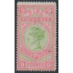 AUSTRALIA / VIC - 1888 £9 apple-green/rosine Stamp Duty, CTO – SG # 328