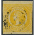 AUSTRALIA / NSW - 1855 8d golden-yellow Diadem, imperforate, '8' watermark, used – SG # 97