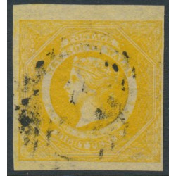 AUSTRALIA / NSW - 1855 8d golden-yellow Diadem, imperforate, '8' watermark, used – SG # 97