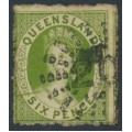 AUSTRALIA / QLD - 1862 6d green Chalon, perf. 13, no watermark, 'line through design at left', used – SG # 27c