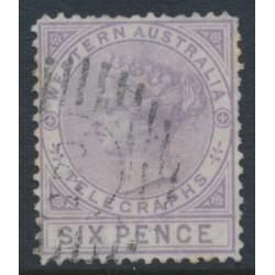 AUSTRALIA / WA - 1879 6d lilac Telegraph Stamp, perf. 14, used – SG # T2